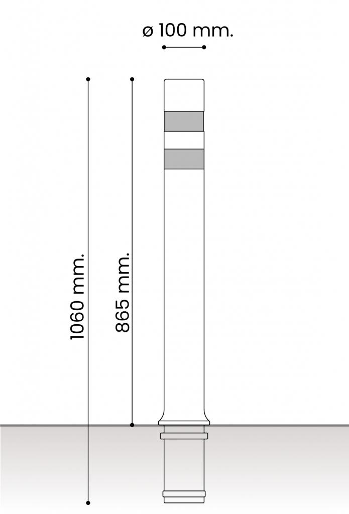 db medidas pilonas fijas plastico_aflex dt fija 100