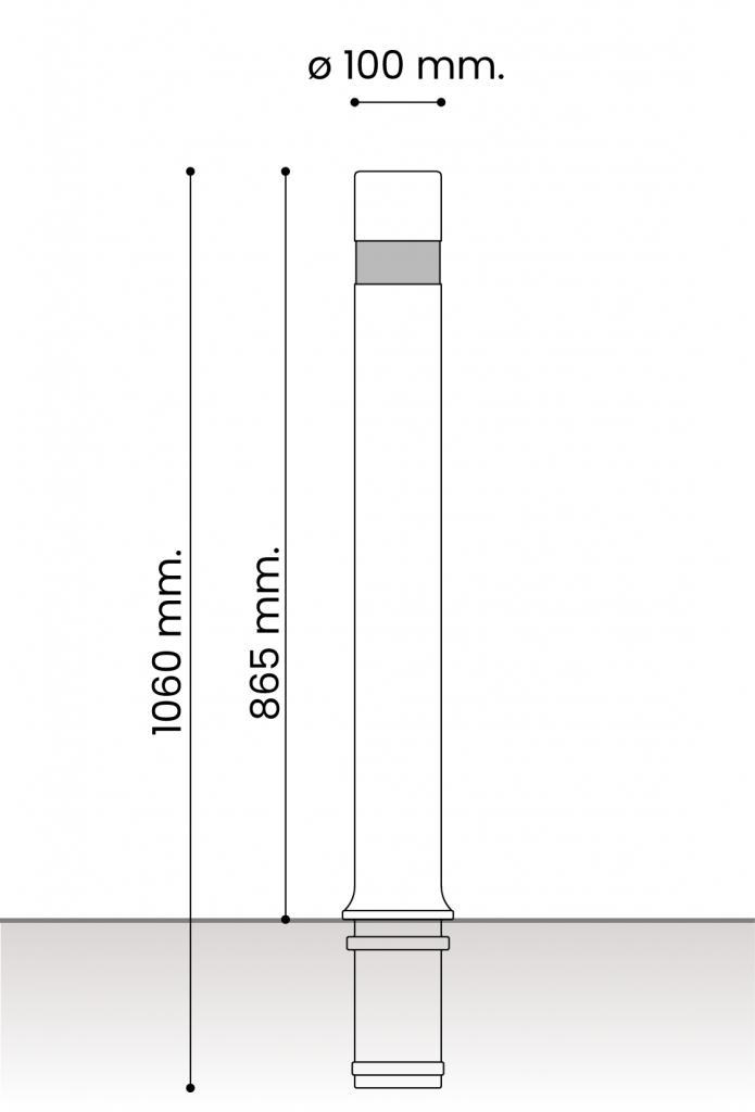 medidas pilonas fijas plástico aflex fija 100