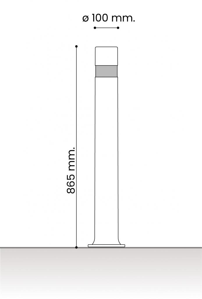 medidas pilonas fijas plastico aflex placa 100