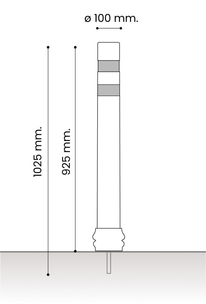 db medidas pilonas fijas plastico_atornillar dt 100