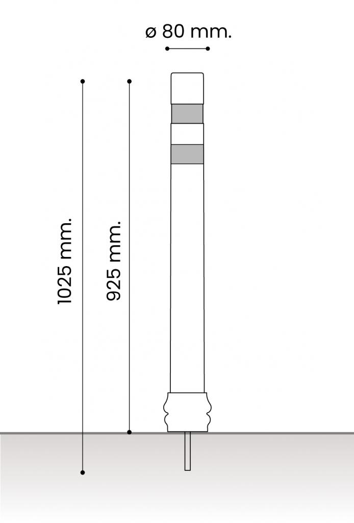 db medidas pilonas fijas plastico_atornillar dt 80
